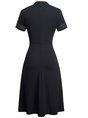 A-Line Work Elegant Solid Midi Dress