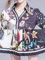 Summer V Neck A-Line Color-block Holiday Printed Midi Dress