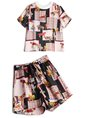 Naked Pink Patchwork Short Sleeve Top With Shorts Set