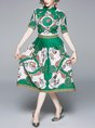 Shirt Collar Green A-Line Daily Elegant Holiday Midi Dress