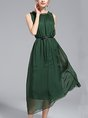Summer Daily Swing Casual Solid Midi Dress