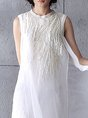 Casual Daily Swing Embroidered Solid Linen Dress