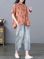 Graphic Short Sleeve Casual Linen Top