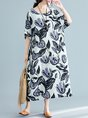 Casual Daytime Daily Printed Floral Linen Dress