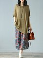 Casual Solid Asymmetrical Daily Linen Top