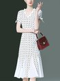 Elegant A-Line Printed Polka Dots Date Midi Dress