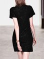 Sheath Fringed Shimmer Going Out Solid Midi Dress