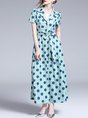 Lapel Polka Dots Going Out Casual Maxi Dress