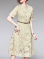 Yellow A-Line Daily Floral Elegant Midi Dress