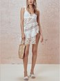 White Guipure Lace Asymmetric Coverup Swimwear