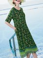 Casual Daytime Daily Printed Graphic Midi Dress