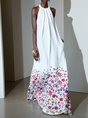 White A-Line Holiday Floral-Print Maxi Dress