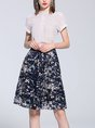Printed Casual Floral Top With Skirt Two-Piece Set