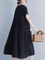Crew Neck Daily Linen Casual Dress
