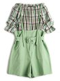 Green Checkered/plaid Cold Shoulder Top With Pants Set