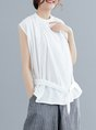 Solid Casual Sleeveless Daytime Daily Linen Top