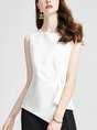 Casual Daily White Solid Asymmetrical Tank