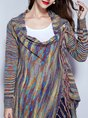 Multicolor Striped Casual Shift Knitted Outerwear