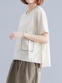 Summer Crew Neck Short Sleeve Casual Linen Top