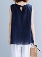 Summer Casual Daytime Sleeveless Solid Linen Top