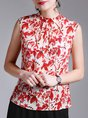 Red Sleeveless Shift Printed Leaf Tank Top