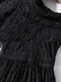 Date A-Line Elegant Guipure Lace Solid Midi Dress