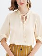 Beige Casual Solid Blouse
