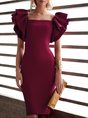 Solid Sheath Elegant Midi Dress