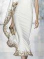 Elegant Asymmetrical Ruffled Single Sleeve Evening Midi Dress