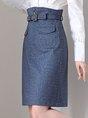 Solid Slit Work Sheath Midi Skirt
