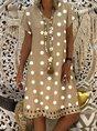 Women V-Neck Short Sleeve Hollow Polka Dot Summer Dress