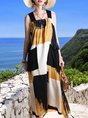 Color-block Shift Casual Maxi Dress