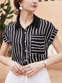 Striped Shift Buttoned Casual Blouse