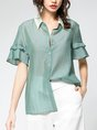 Summer Casual Daily Solid Blouse