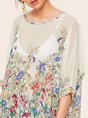 Casual Floral See-Through Look Blouse