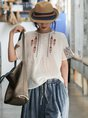 White Crew Neck Embroidered Linen T-Shirt Top