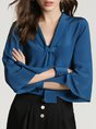 Solid Shift Long Sleeve Buttoned Work Blouse