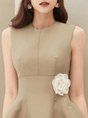 Khaki A-Line Simple Pockets Midi Dress