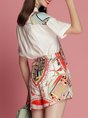 Elegant Printed Top with Pants Two-Piece Set