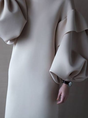 Elegant Solid Balloon Sleeve Midi Dress