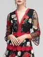 V Neck Daily Embroidered Elegant Floral Midi Dress