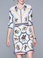 Sheath Printed Animal Top with skirt Two-Piece Set