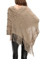V Neck Asymmetric Fringed Knitted Casual Tunic