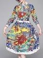 Casual Printed Animal Pleated Midi Dress