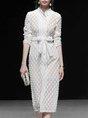 White Geometric Elegant Buttoned Blazer