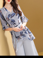 Blue Bell Sleeve Pockets Top With Pants Elegant Two-Piece Set