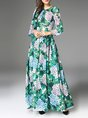 Floral Gathered Printed Date Casual Maxi Dress