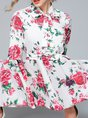 Tie-Neck Floral Holiday Bow Gathered Printed Maxi Dress