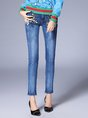 Floral Embroidered Casual Daily Jeans
