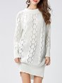 White Casual Daily Knitted Mini Dress